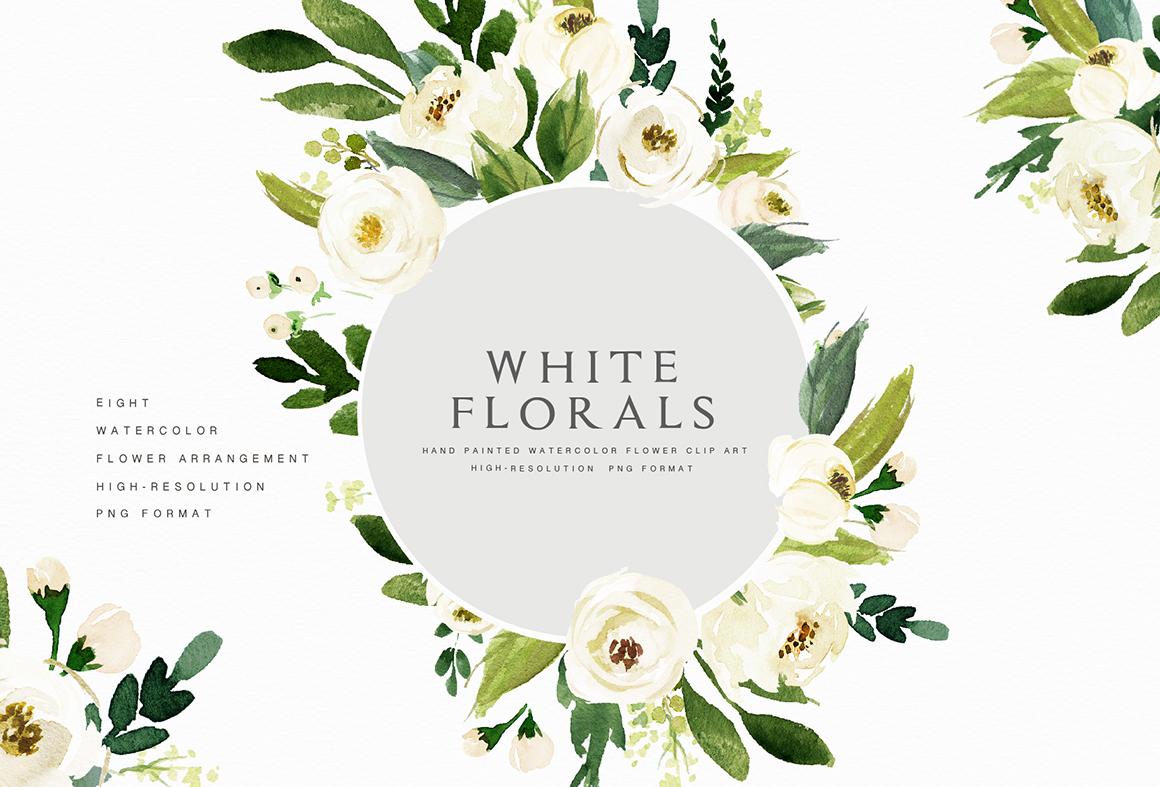 Watercolor White Flower Clip Art.