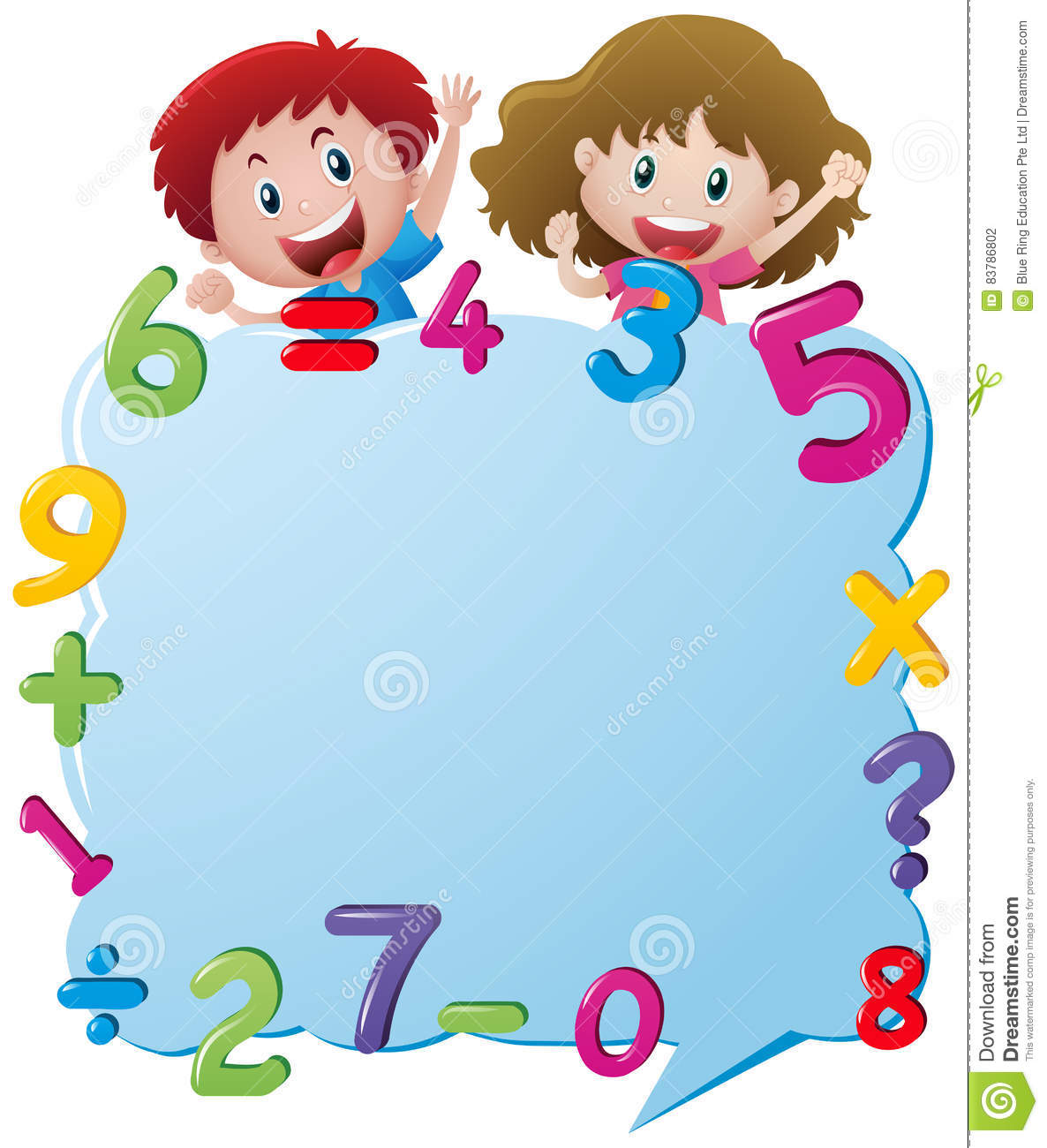 Border Template With Kids And Numbers Stock Vector.