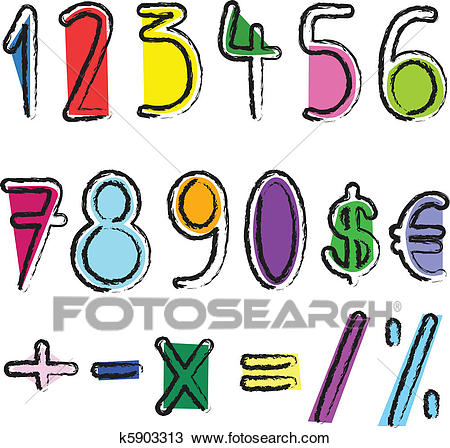 Artistic numbers Clipart.