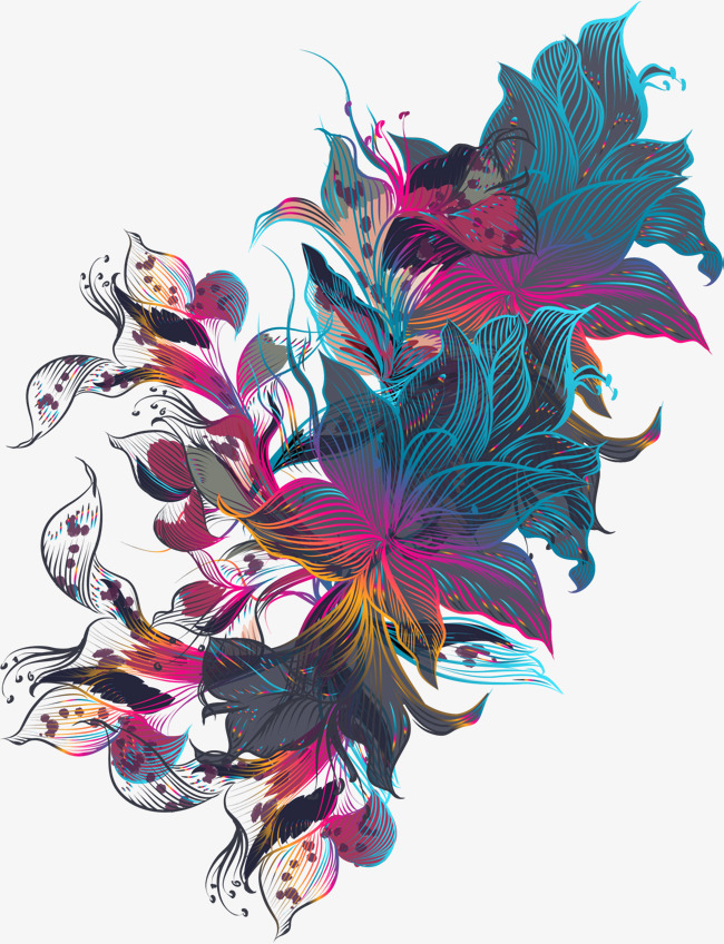 Artistic Lines Of Flowers, Vector Png, Artistic Sense, Colorful.