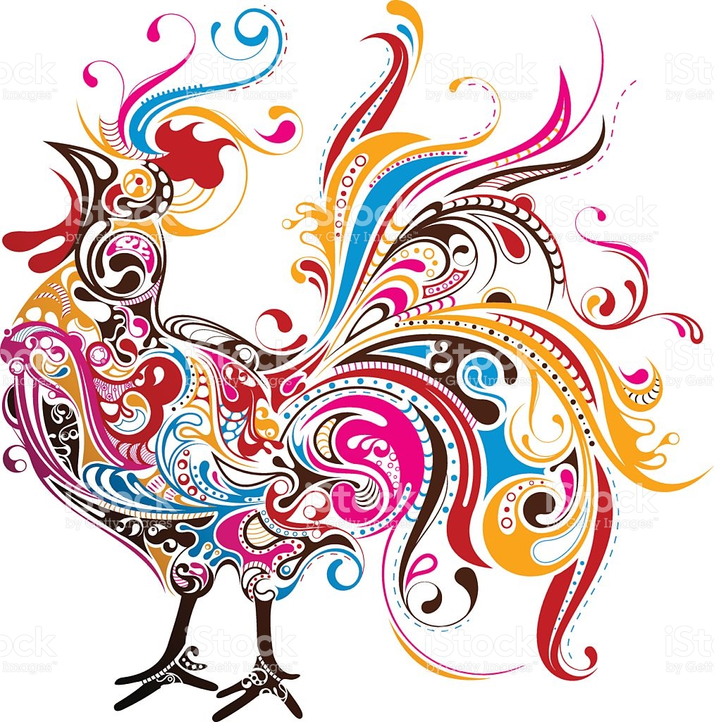 Artistic Rendering Of Colorful Rooster stock vector art 163854964.