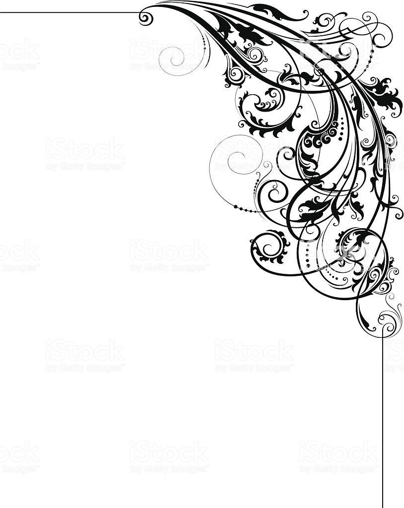Artistic Scroll Corner Stock Illustration.