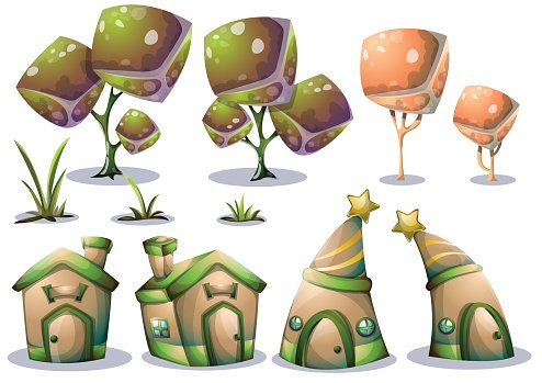 cartoon vector cute house object with separated layers.