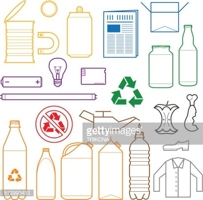 color separated waste outlines icons Clipart Image.