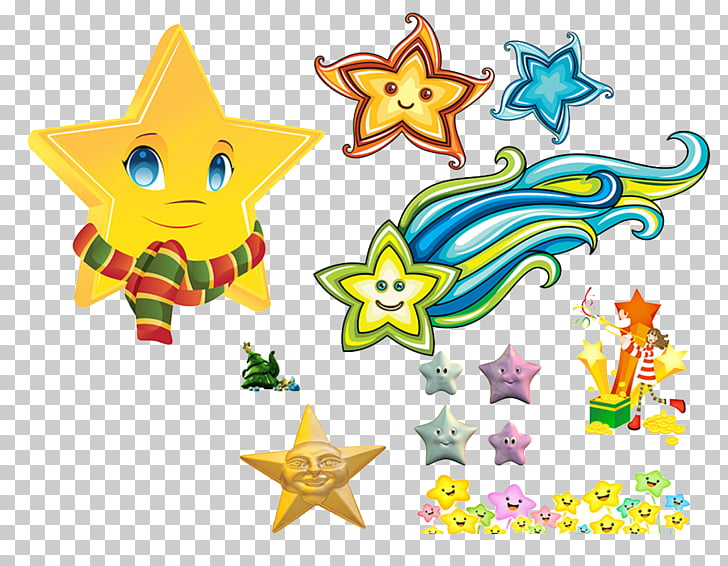 Moon Sun , Smiling stars PNG clipart.