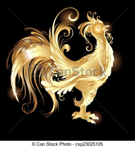 Vector Clipart of gold rooster.