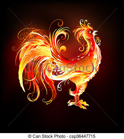 Clipart of fire rooster.