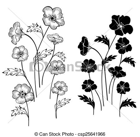 Clip Art Vector of silhouettes delicate flowers.