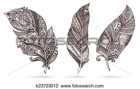 Clipart of Artistically drawn, stylized, vector set of feathers.
