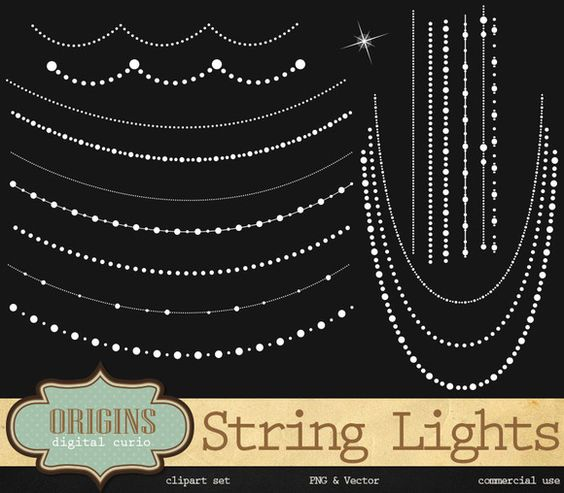 String Lights & Beads Vector Clipart.