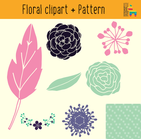 Freebie: Beautiful Digital Paper & Floral Clipart.