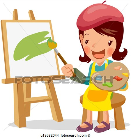 Clip Art Artist Painting Something Clipart.