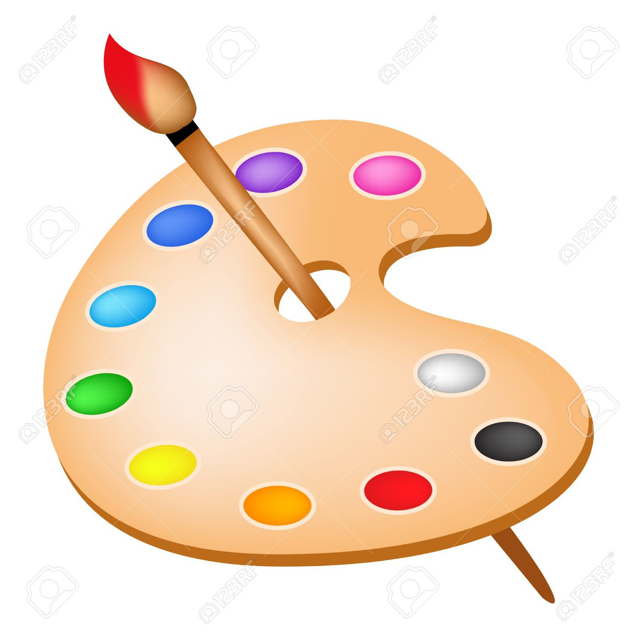 Art palette clipart Artists Color Palette With Colors And.