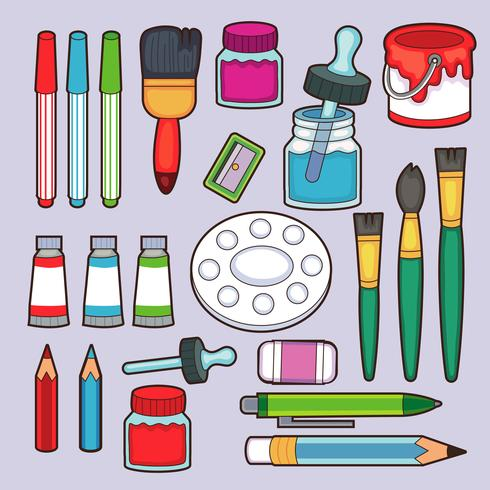 Painting tools. Cartoon paintbrush and canvas, easel and.