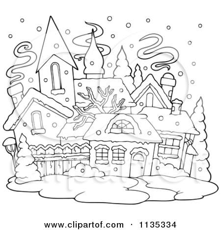 Cartoon Of An Outlined Winter Village With Snow.