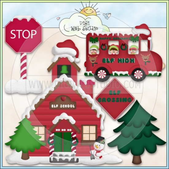 Christmas Village: Santa's Elves School & Bus.