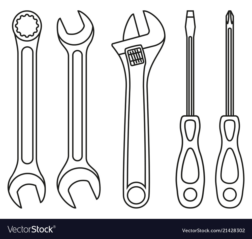Line art black and white wrench screwdriver set.