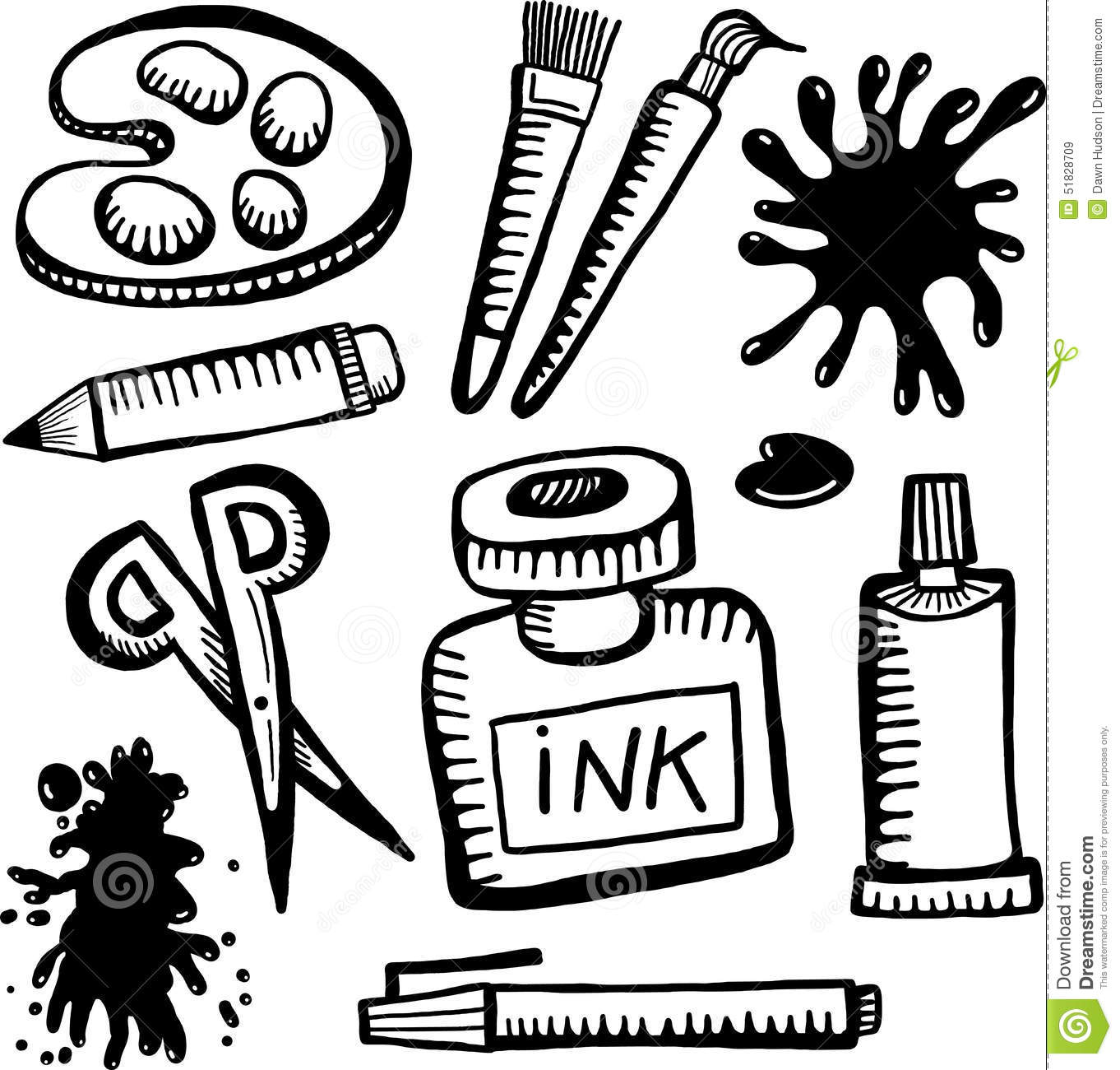 Arts And Crafts Clipart Black And White.