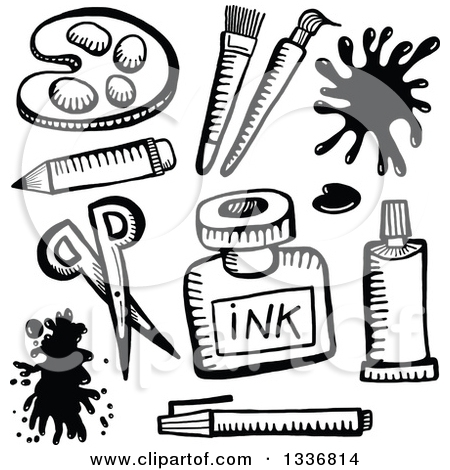 Art Materials Clipart Black And White.