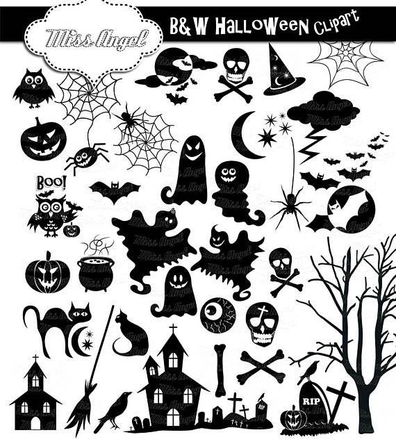 Halloween Silhouettes Clip art. 34 black Halloween clipart.