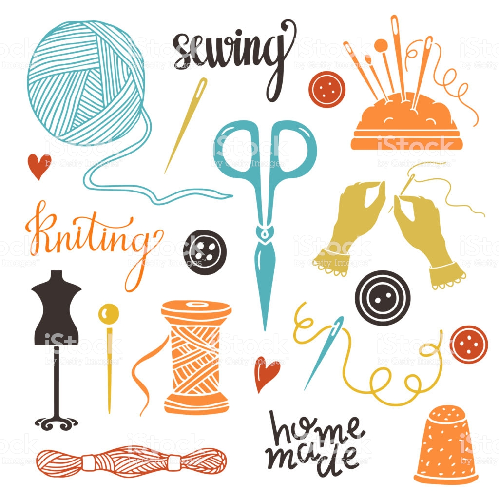 Arts And Crafts Sewing Supplies Tools Stock Illustration.