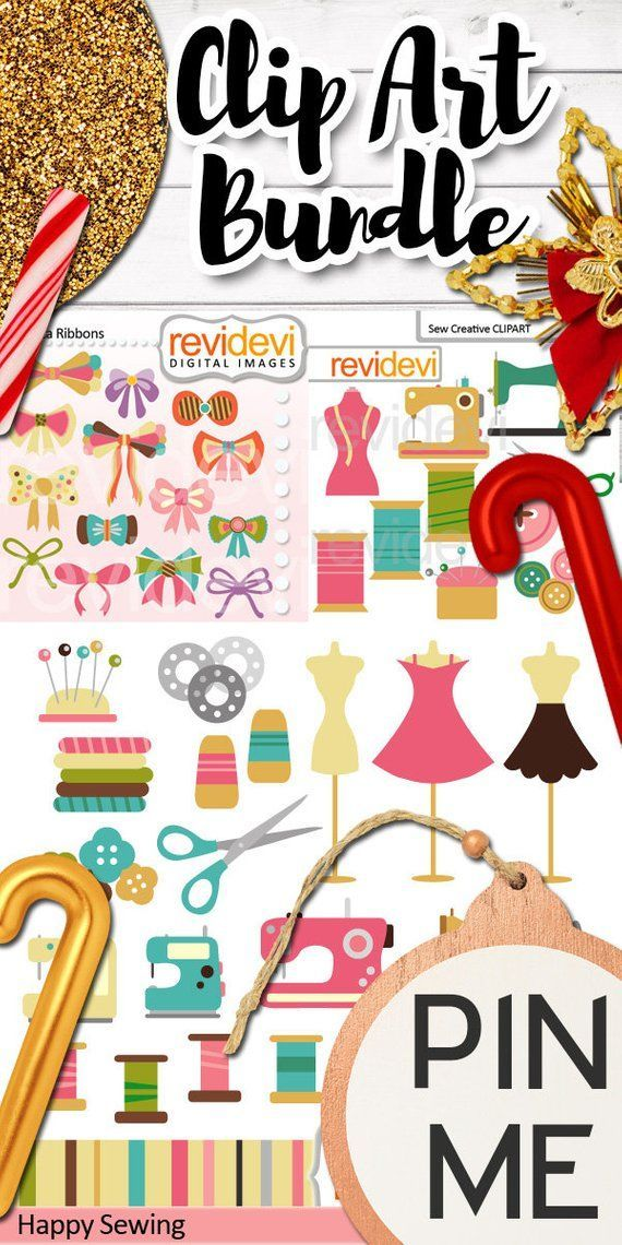 Sewing Clip art Bundle Commercial Use. Sewing machine.