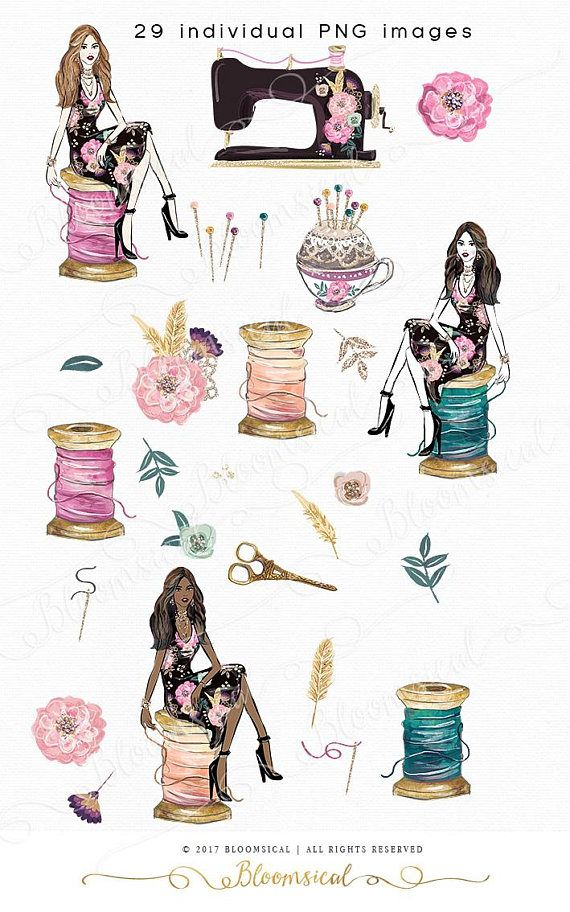 A feminine sewing & craft clipart collection featuring a.