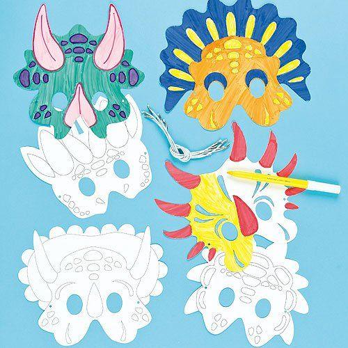 Dinosaur Colour in Craft Masks for Children to Decorate & Wear.