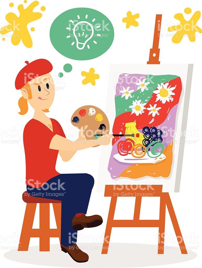 Artist Painting His Masterpiece Clipart stock vector art 482983736.