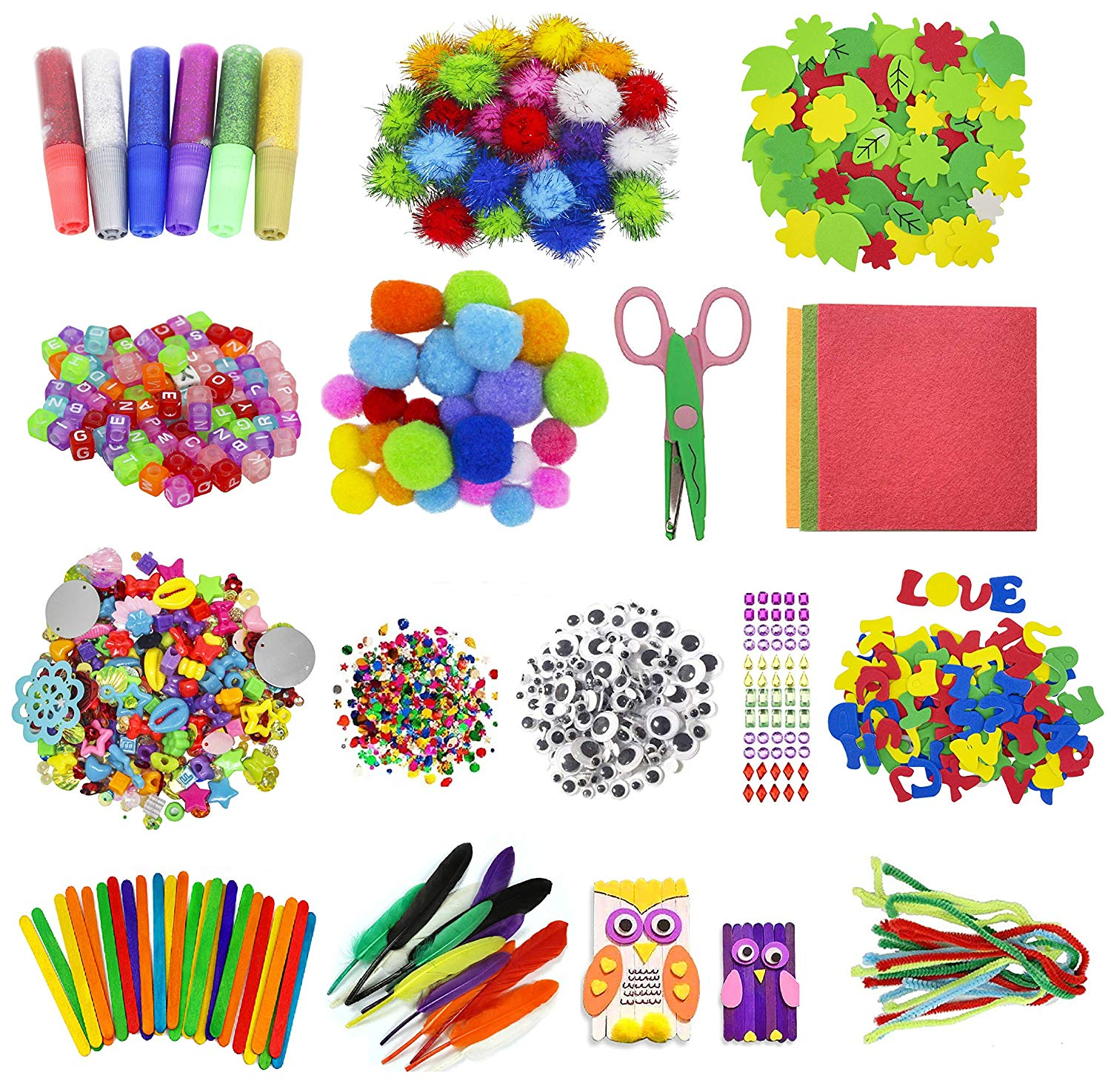 Assorted Arts and Crafts Supplies for Kids Girls Ages 6 7 8 9 10, Pipe  Cleaners, Letter Beads, Pom Poms,Glue,Sticks,Wiggle Googly Eyes,All in One.