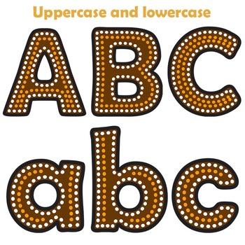 Indigenous Australian Art Style Alphabet Letters.