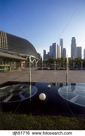 Stock Images of Singapore, Marina Square, Arts Centre and Skyline.