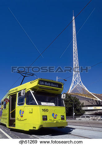 Stock Photograph of Australia, Melbourne, Tram, Arts Centre Tower.