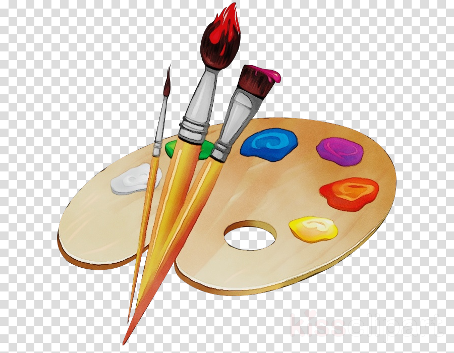 painting palette yellow paint visual arts clipart.