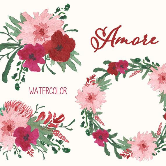 Watercolor Flower Clipart // Valentine or Christmas Flower.