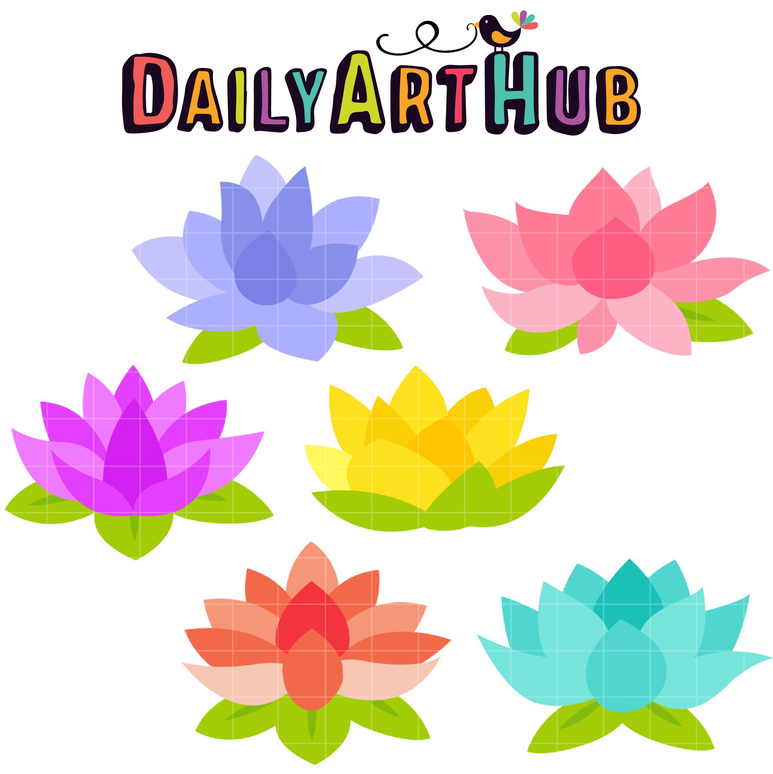 Lovely Lotus Clip Art Set.