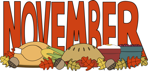 Month of November Thanksgiving Food Clip Art.