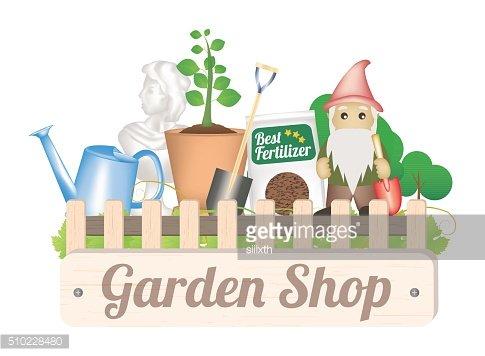 Garden shop wood board Clipart Image.