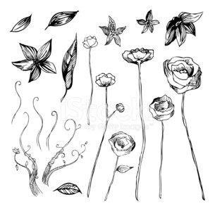 Artsy Flowers Clipart Image.