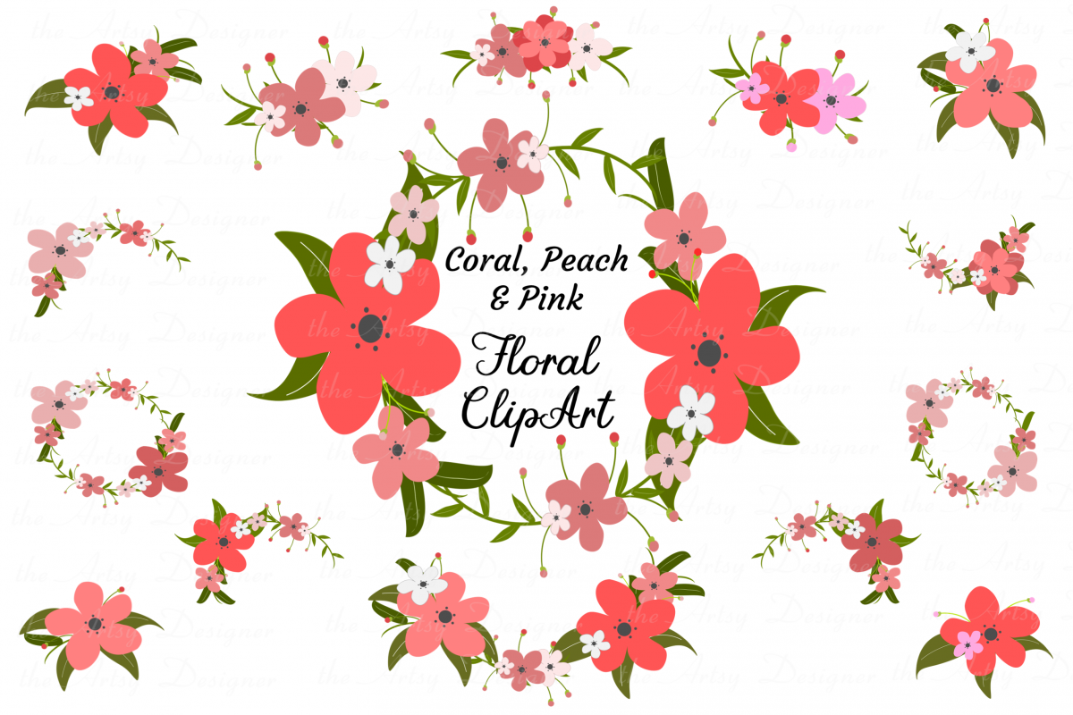 Coral Peach Pink Flowers Sublimation Clipart Bundle Floral.