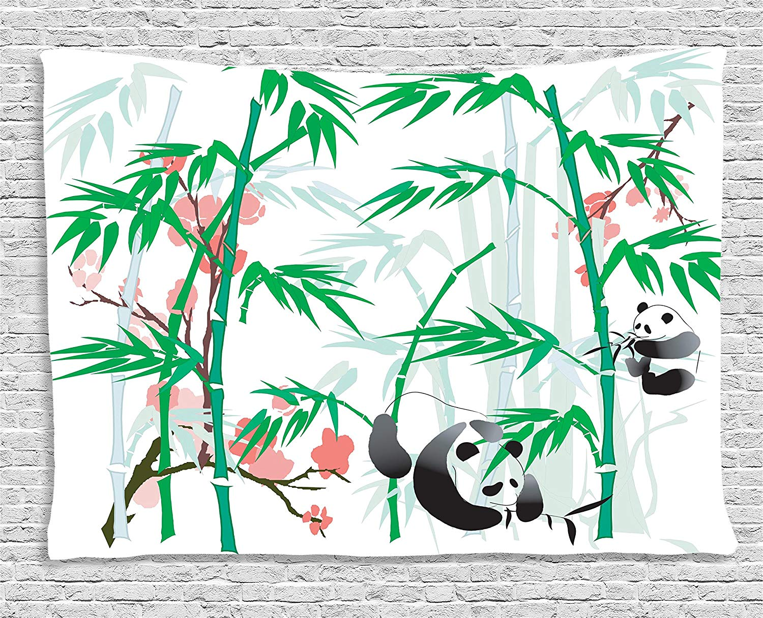 Ambesonne Bamboo House Decor Collection, Giant Woody Grass Bamboos and  Panda Bear in Chinese Tropics Artsy Print, Bedroom Living Room Dorm Wall.