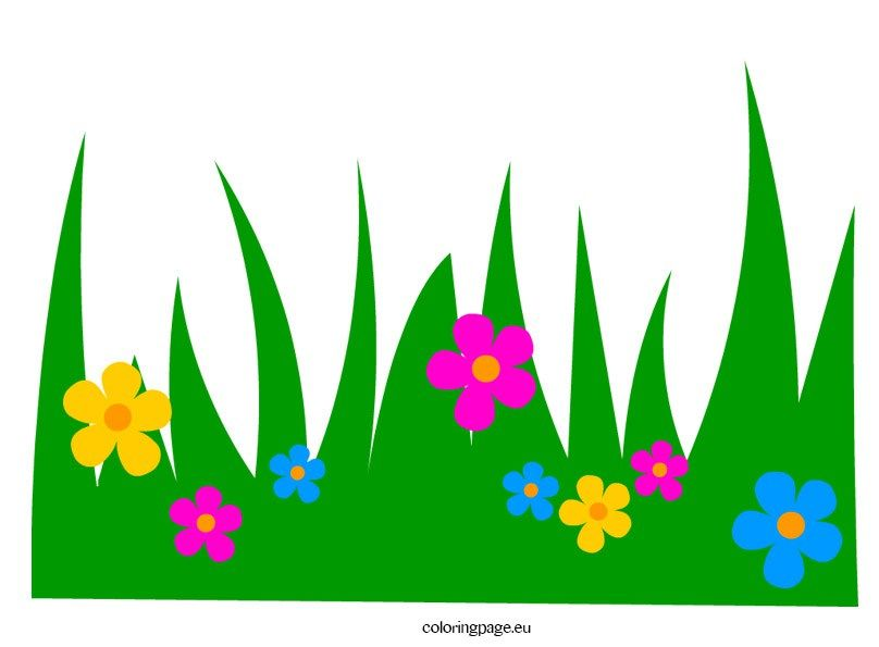 grass with flowers clip art coloring page.