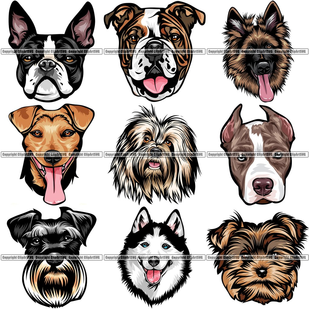 9 Dog Breed Head Face Top Selling Color Designs BUNDLE ClipArt SVG.
