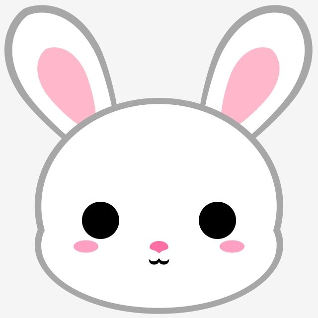 Cartoon White Bunny Head, Bunny, Rabbit, Animal PNG.