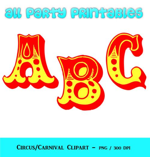 Circus Letters Clipart.