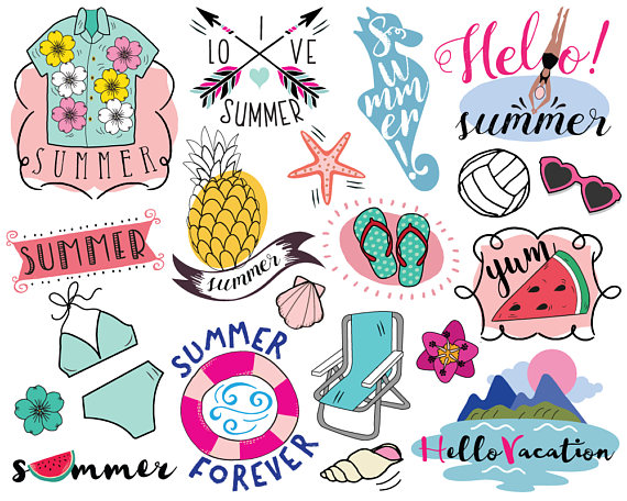 Vacation Summer Clipart, vector, summer clip art, beach.