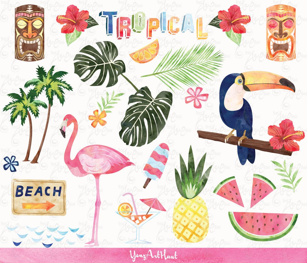 Watercolor Tropical Clip Art \