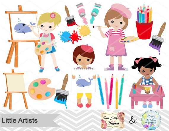 Digital Little Artist Clipart, Little Girl Artist Clip Art.