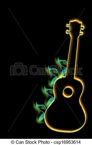 Clipart of Ukulele Art glowing with black back csp16953614.
