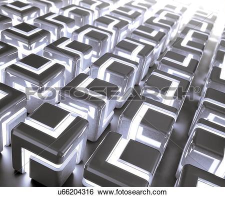 Stock Illustration of Glowing cubes, artwork u66204316.